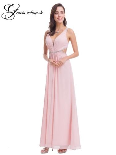 cb38be81664e Ružové extravagantné dlhé šaty model 7081
