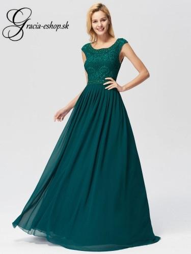 Zelené spoločenské šaty s krajkovým topom model 7755 ee2d4e06153