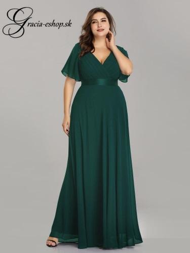 Zelené spoločenské šaty s padavými rukávmi model 9890 - XL b3b04e3f13e