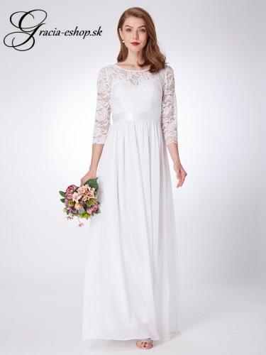 5ae821e13cbc Biele spoločenské šaty s čipkovaným rukávom model 7412 - S