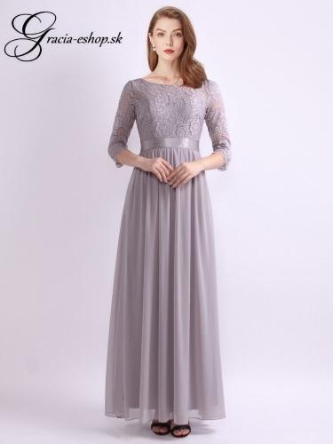 b24d1e86b9e2 Sivé večerné šaty s čipkovaným topom model 7412 - XL