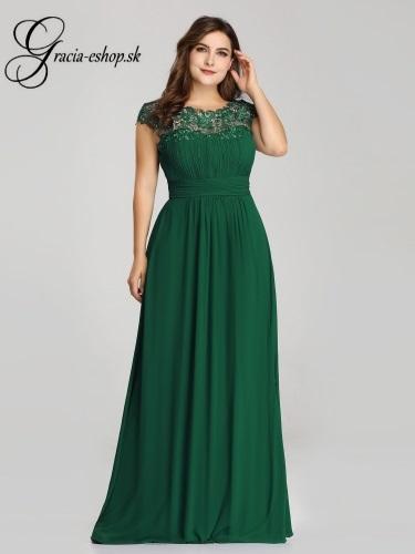6bc701ae96e9 Zelené večerné šaty s krajkovým topom model 9993