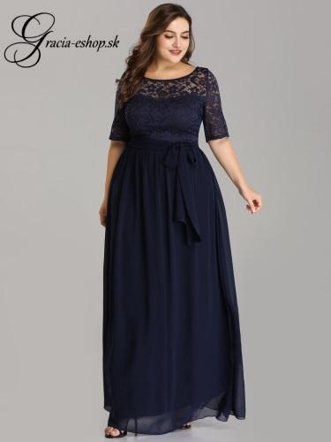 e6802d6c6790 Tmavomodré šaty s krajkovým topom model 7624