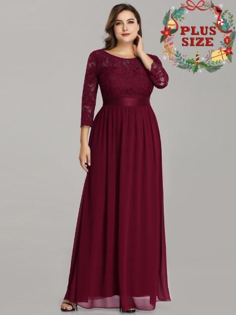 Bordové spoločenské šaty s trištvrťovými rukávmi model 7412 02f5322074