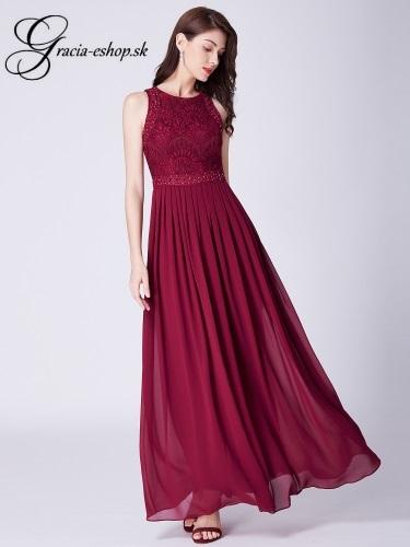 8228b12fcd24 Dlhé bordové šaty s krajkovým topom model 7391
