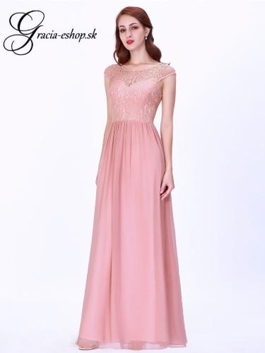 1e8bcebebcb0 Dlhé svetlo ružové krajkové šaty model 7552