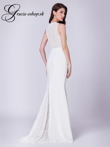 Biele šaty s čipkovaným topom model 7385 840bacd5f5c