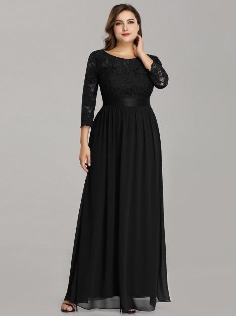7ba4cd95d808 Čierne večerné šaty s rukávmi model 7412