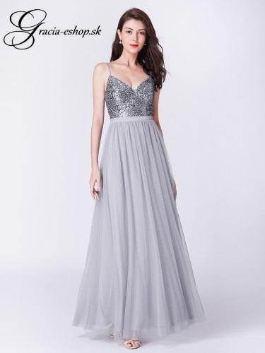 bf935aec64b4 Dlhé sivé tylové večerné šaty model 7392