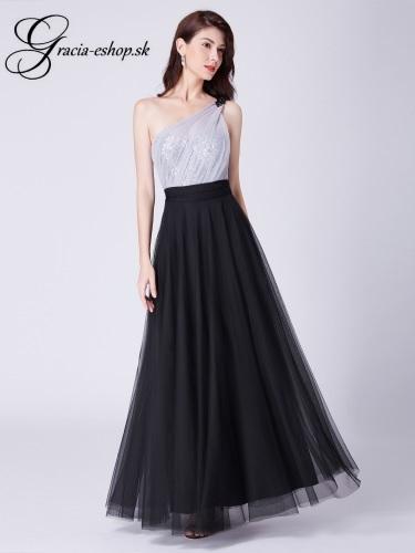 475cf716a706 Tylové šaty na jedno rameno model 7404 - čierna