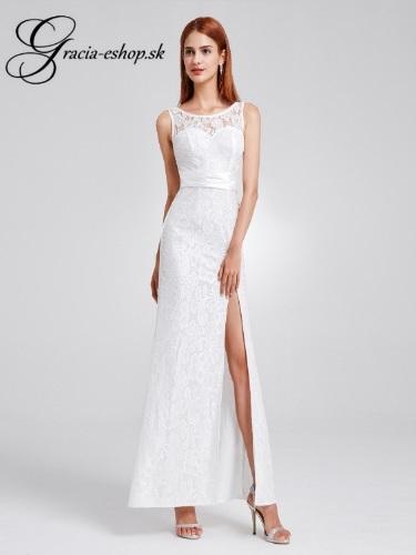 f5d6a068983b Biele celokrajkové spoločenské šaty model 8949