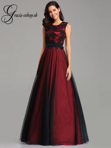 Dlhé tylové šaty s krajkovým topom model 7545 - bordová  57fd8cd01a2