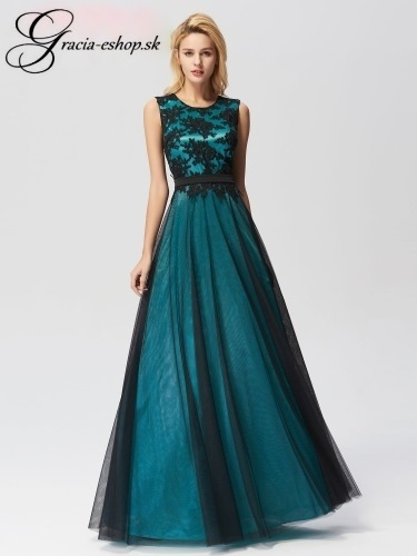 b759d56e86f3 Tylové šaty s krajkovým topom model 7545 - zelená