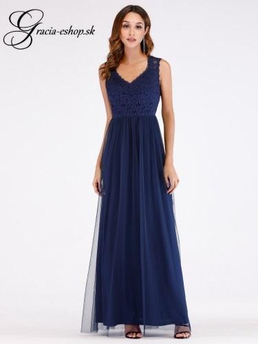 4beb438f211b Dlhé tylové šaty s krajkovým topom 7509 - L