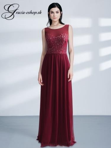 a79661adb8e9 Dlhé bordové spoločenské šaty model 7543