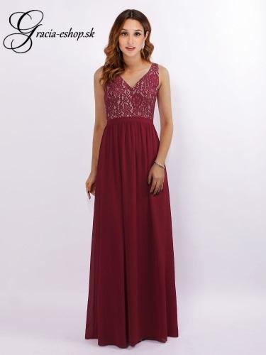 2b41e47a47a5 Dlhé bordové plesové šaty model 7593
