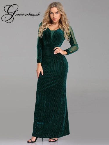 Dlhé zelené šaty s rukávom model 7394  2db7da14ce3