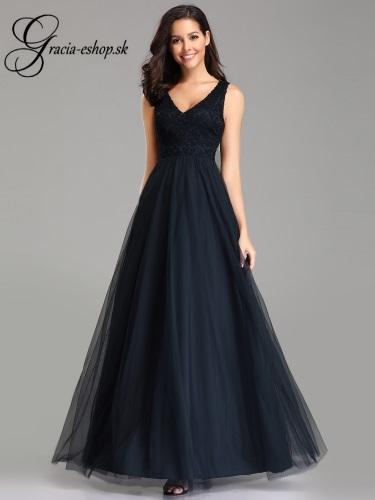 06776aae35ba Čierne šaty na ples s čipkovaným topom model 7644