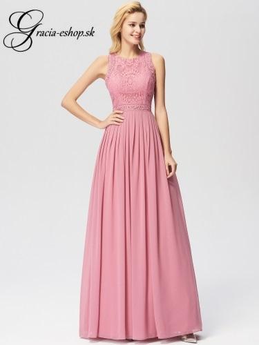 d6b5f9c7c7 Ružové spoločenské šaty s čipkou model 7391