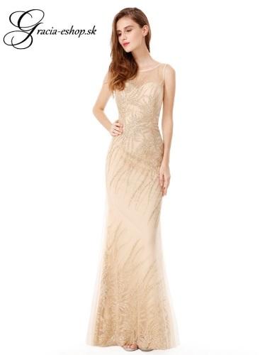 423b017e45d0 Zlaté priliehavé spoločenské šaty model 8929 - S