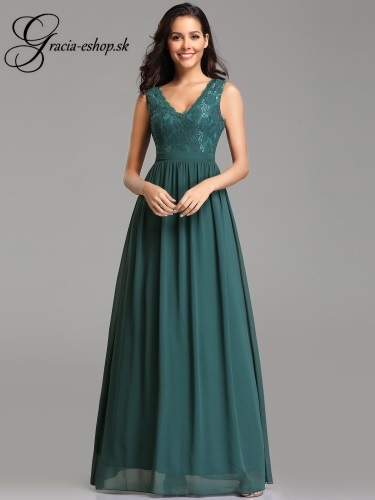 Zelené večerné šaty s krajkovými ramienkami model 7577 - S 8a74d110e92