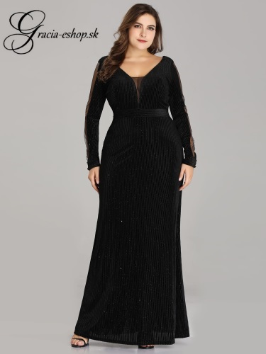 ca57cf2f1036 Čierne elegantné šaty s rukávmi model 7394 - XL