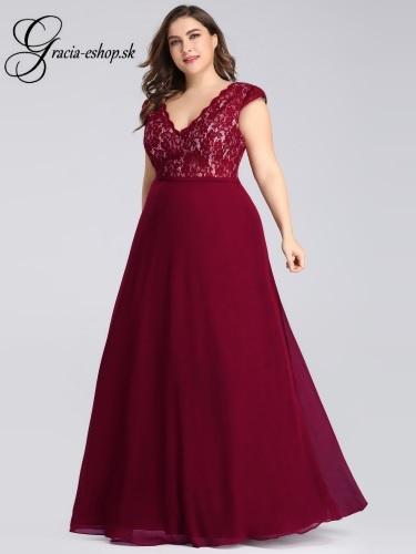 Spoločenské šaty s čipkovaným topom a rukávmi model 7344 23bc27fc60