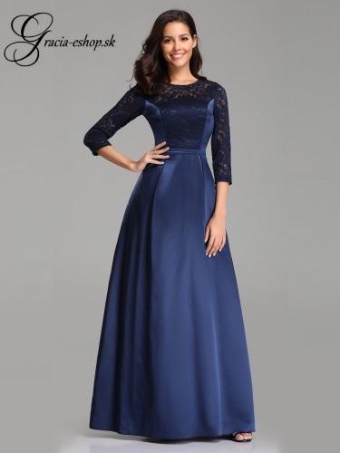 Spoločenské šaty so saténovou sukňou a čipkovaným topom model 7720 e00e80bad89