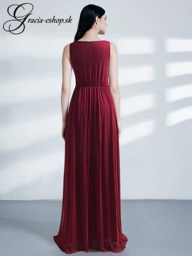 Dlhé bordové spoločenské šaty model 7543  b253f953e94