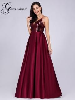 d5618e3a2ba0 Bordové spoločenské šaty so skladanou sukňou model 7859 - S