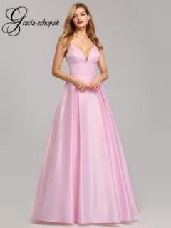 2fb8acfb23e2 Ružové spoločenské šaty s hlbokým výstrihom model 7927 - XS empty