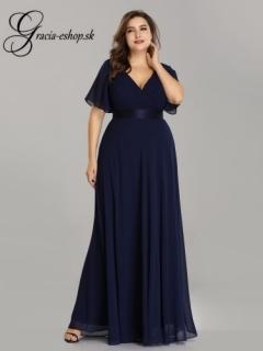 Tmavomodré spoločenské šaty s padavými rukávmi model 9890 - 5XL empty 0ccf5d2e453