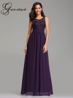 Fialové spoločenské šaty s krajkovým topom model 7647 empty 853a73998c3