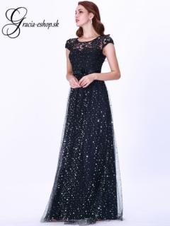 e3a649398f49 Čierne spoločenské šaty s čipkovaným topom model 7650 empty