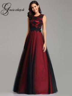 85b92dc251cf Dlhé tylové šaty s krajkovým topom model 7545 - bordová empty