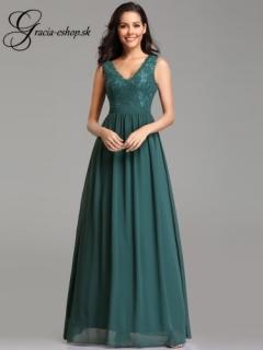 7d6b40d79cad Zelené večerné šaty s krajkovými ramienkami model 7577 - S empty