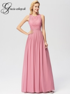Ružové spoločenské šaty s čipkovaným topom model 7391 - M empty 7ef13cd5aba
